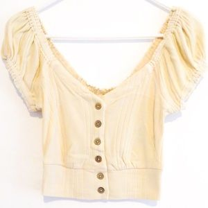 Free People Brighter Days Button Front Tee Top S-M